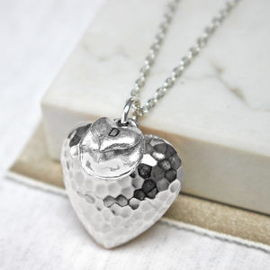 Personalised Hammered Heart Necklace - summer sale