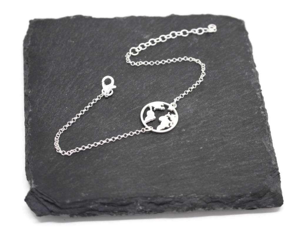 Sterling Silver Map Bracelet