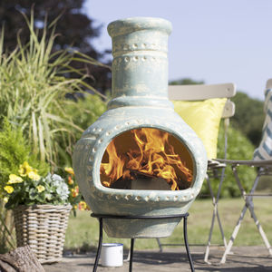 Large Blue Clay Chiminea - picnics & barbecues