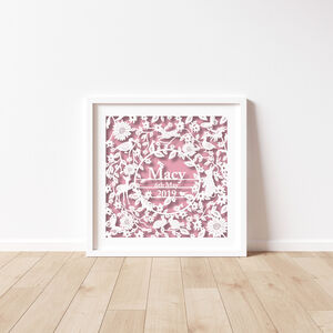 Personalised New Baby Name Paper Cut Print Unframed