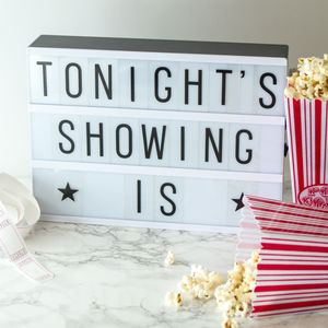 Retro Cinema Night Kit With Lightbox Customisable Sign - lighting