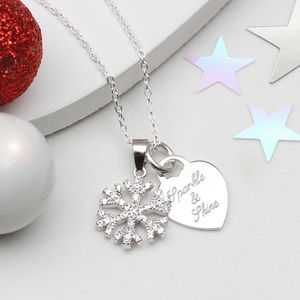 Personalised Sterling Silver Snowflake Necklace