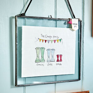 Personalised Embroidered Welly Boot Wall Hanging