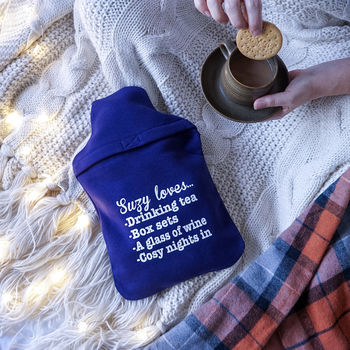 Personalised Favourite Things Hot Water Bottle Cover