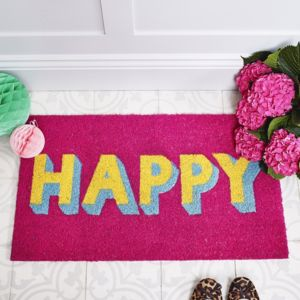 Happy Block Font Door Mat - rugs & doormats