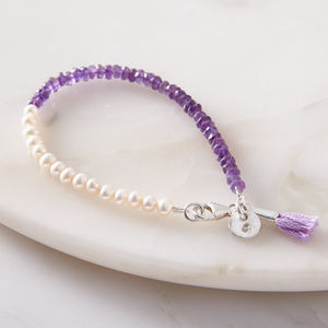 Personalised Mini Pearl And Amethyst Bracelet