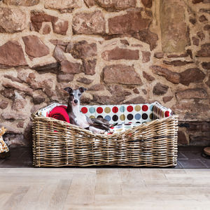 Charley Chau Dressed Rattan Pet Basket - cat beds