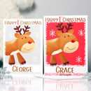 Personalised Reindeer Baby 1st Christmas Card