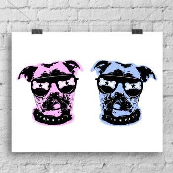 Pink and blue Pop Art Dog Print Duo by Lou Boyce