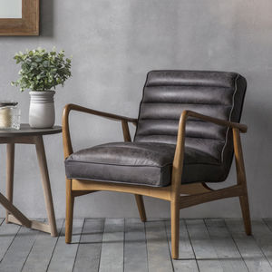 Black Leather Armchair - furniture