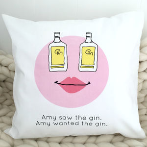 'Gin Cushion' Personalised Gin Gift - living room