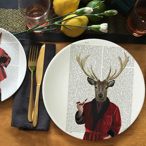 Deer In Smoking Jacket Bone China Plate