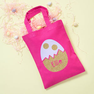 Personalised Glitter Kids Easter Bag - easter egg hunt