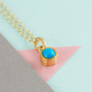 Fine Turquoise Birthstone Round Gold Necklace - necklaces & pendants