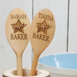 Personalised Superstar Baker Wooden Spoon - gifts for grandparents