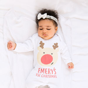 Personalised First Christmas Reindeer Babygrow