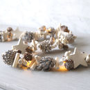 Frosted Pinecones And Stars Light Garland
