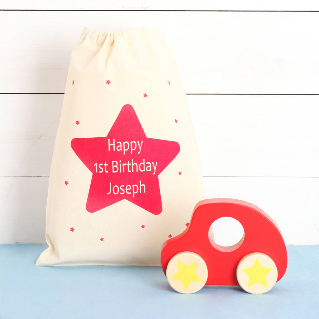 Push Along Car And Personalised Star Gift Bag By Red Berry Apple