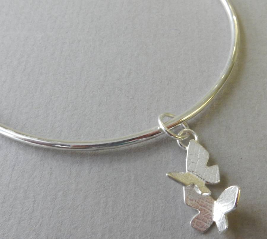 Silver Butterfly Charm Bangle