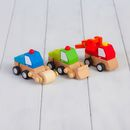 Three Wooden Wind Up Digger Toys And Personalised Bag