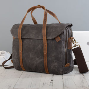 Waxed Canvas Cross Body Laptop Bag - laptop bags & cases
