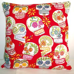 Cool Modern Retro Skulls Red Glitter Cushion - bedroom