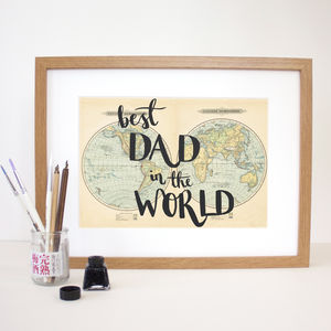 Personalised 'Best Dad In The World' Typographic Print - whatsnew