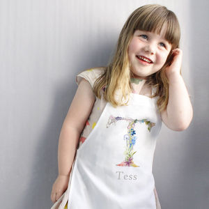 Personalised Kids Apron With Botanical Lettering - gifts for children