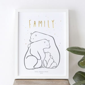 Personalised Bear Family Print - posters & prints for children