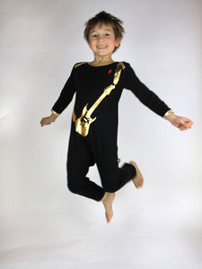 Cool Black And Gold Guitar Onesie
