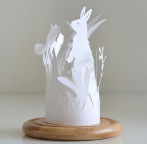 Paper Cut Layered Bunny Rabbit Layered Bell Jar Scene