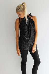 Black Sequin Halter Top - women's fashion