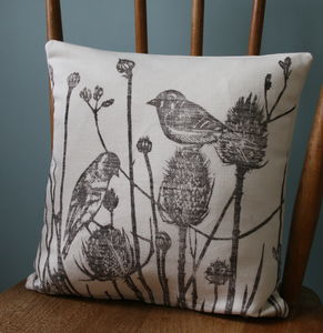 British Bird Print Hand Printed Linen Cushion Cover