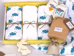 Organic Cloud Muslin And Sock Gift Set For Mum And Baby