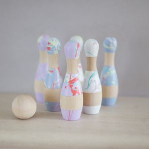 Splatter Wooden Bowling Pins - toys & games