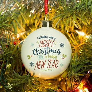 Bone China Merry Christmas Personalised Bauble - tree decorations