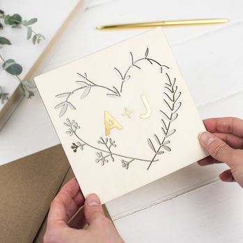 Gold Keepsake Wooden Wreath Card