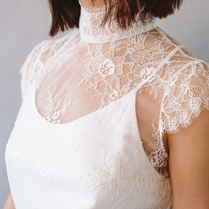 Daphne High Neck Bridal Lace Top With Camisole - simple 60s wedding styling