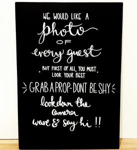 'Grab A Prop' Wedding Chalkboard