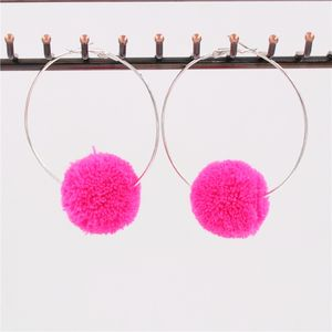 Pom Pom Hoop Earrings - earrings