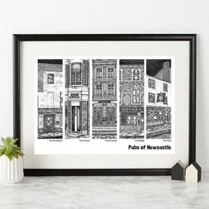 Pubs Of Newcastle Illustration Print - architecture & buildings