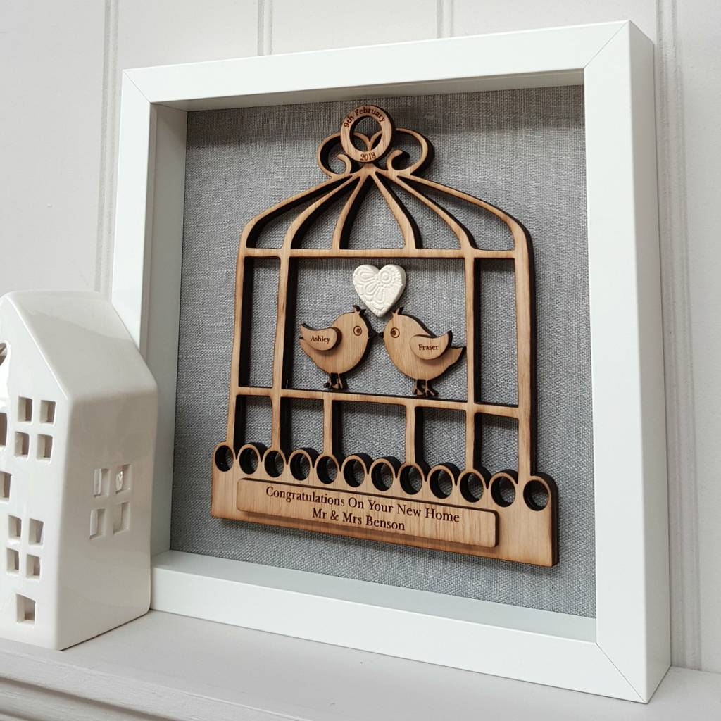 New Home 3D Oak Bird Cage With Birds Gift
