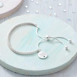 Personalised Silver Disc Birthstone Friendship Bracelet - bridesmaid gifts
