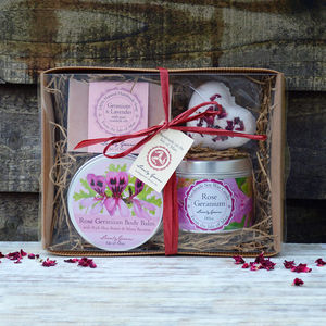 Rose Geranium And Lavender Beauty And Candle Gift Set