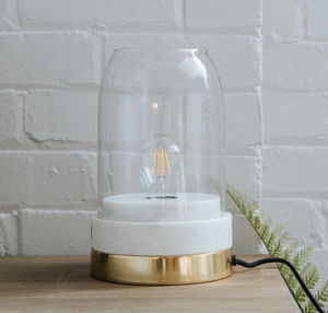 Marble, Brass And Glass Table Lamp
