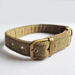 Dog Collar Tweed Olive Green - dogs