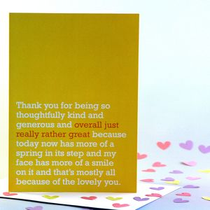 'Overall Just Really Rather Great' Thank You Card