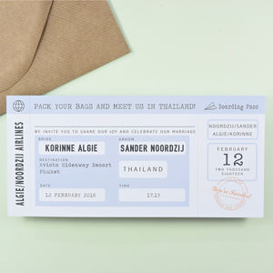 Block Vintage Retro Style Boarding Pass Wedding Invite