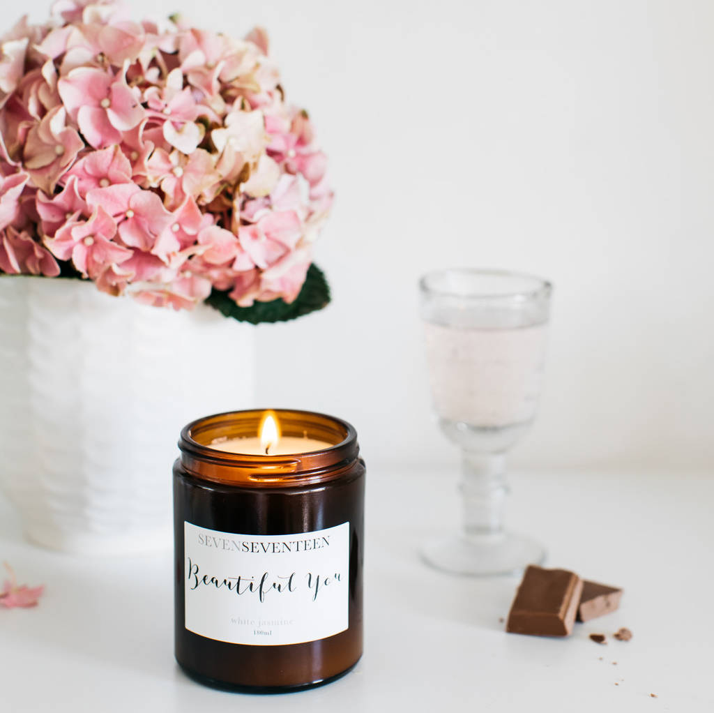 'beautiful You' White Jasmine Scented Candle by Sevenseventeen