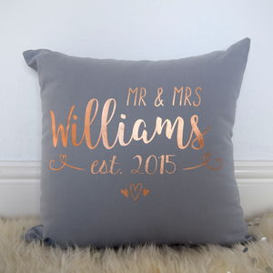 Personalised Mr And Mrs Rose Gold Light Grey Cushion - living room